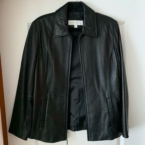 Liz Claiborne womens black leather jacket (L)